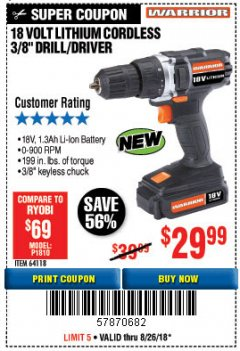"Harbor Freight Coupon 18 VOLT LITHIUM CORDLESS 3/8"" DRILL/DRIVER Lot No. 64118 Expired: 8/26/18 - $29.99"