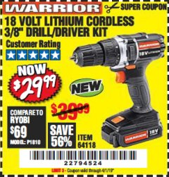 "Harbor Freight Coupon 18 VOLT LITHIUM CORDLESS 3/8"" DRILL/DRIVER Lot No. 64118 Expired: 4/1/19 - $29.99"