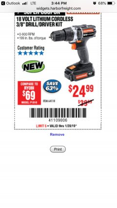 "Harbor Freight Coupon 18 VOLT LITHIUM CORDLESS 3/8"" DRILL/DRIVER Lot No. 64118 Expired: 1/20/19 - $24.99"