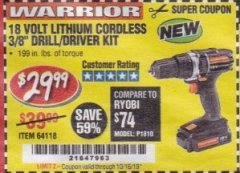 "Harbor Freight Coupon 18 VOLT LITHIUM CORDLESS 3/8"" DRILL/DRIVER Lot No. 64118 Valid Thru: 10/15/19 - $29.99"