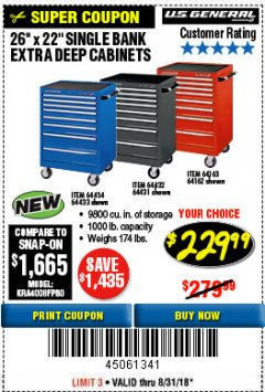 "Harbor Freight Coupon 26"" X 22"" SINGLE BANK EXTRA DEEP CABINETS Lot No. 64434/64433/64432/64431/64163/64162/56234/56233/56235/56104/56105/56106 Expired: 8/31/18 - $229.99"