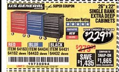 "Harbor Freight Coupon 26"" X 22"" SINGLE BANK EXTRA DEEP CABINETS Lot No. 64434/64433/64432/64431/64163/64162/56234/56233/56235/56104/56105/56106 Expired: 12/5/18 - $229.99"