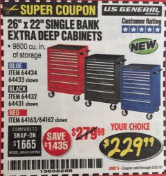 "Harbor Freight Coupon 26"" X 22"" SINGLE BANK EXTRA DEEP CABINETS Lot No. 64434/64433/64432/64431/64163/64162/56234/56233/56235/56104/56105/56106 Expired: 9/30/18 - $229.99"