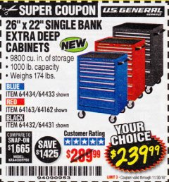 "Harbor Freight Coupon 26"" X 22"" SINGLE BANK EXTRA DEEP CABINETS Lot No. 64434/64433/64432/64431/64163/64162/56234/56233/56235/56104/56105/56106 Expired: 11/30/18 - $239.99"