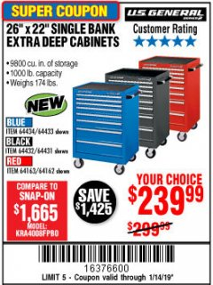 "Harbor Freight Coupon 26"" X 22"" SINGLE BANK EXTRA DEEP CABINETS Lot No. 64434/64433/64432/64431/64163/64162/56234/56233/56235/56104/56105/56106 Expired: 1/14/19 - $239.99"