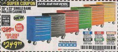 "Harbor Freight Coupon 26"" X 22"" SINGLE BANK EXTRA DEEP CABINETS Lot No. 64434/64433/64432/64431/64163/64162/56234/56233/56235/56104/56105/56106 Expired: 4/30/19 - $249.99"
