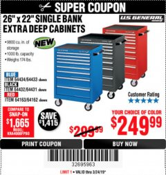 "Harbor Freight Coupon 26"" X 22"" SINGLE BANK EXTRA DEEP CABINETS Lot No. 64434/64433/64432/64431/64163/64162/56234/56233/56235/56104/56105/56106 Expired: 3/24/19 - $249.99"