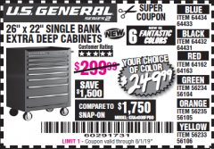 "Harbor Freight Coupon 26"" X 22"" SINGLE BANK EXTRA DEEP CABINETS Lot No. 64434/64433/64432/64431/64163/64162/56234/56233/56235/56104/56105/56106 Expired: 8/1/19 - $249.99"