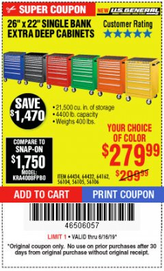 "Harbor Freight Coupon 26"" X 22"" SINGLE BANK EXTRA DEEP CABINETS Lot No. 64434/64433/64432/64431/64163/64162/56234/56233/56235/56104/56105/56106 Expired: 6/16/19 - $279.99"