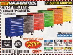 "Harbor Freight Coupon 26"" X 22"" SINGLE BANK EXTRA DEEP CABINETS Lot No. 64434/64433/64432/64431/64163/64162/56234/56233/56235/56104/56105/56106 Expired: 7/31/19 - $279.99"