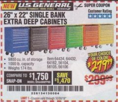 "Harbor Freight Coupon 26"" X 22"" SINGLE BANK EXTRA DEEP CABINETS Lot No. 64434/64433/64432/64431/64163/64162/56234/56233/56235/56104/56105/56106 Expired: 10/30/19 - $279.99"