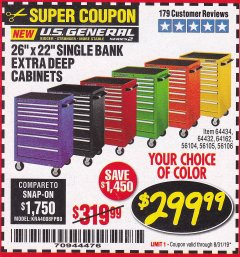 "Harbor Freight Coupon 26"" X 22"" SINGLE BANK EXTRA DEEP CABINETS Lot No. 64434/64433/64432/64431/64163/64162/56234/56233/56235/56104/56105/56106 Expired: 8/31/19 - $299.99"