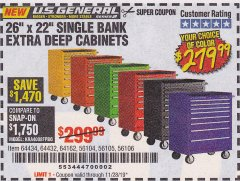 "Harbor Freight Coupon 26"" X 22"" SINGLE BANK EXTRA DEEP CABINETS Lot No. 64434/64433/64432/64431/64163/64162/56234/56233/56235/56104/56105/56106 Expired: 11/28/19 - $279.99"