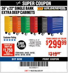 "Harbor Freight Coupon 26"" X 22"" SINGLE BANK EXTRA DEEP CABINETS Lot No. 64434/64433/64432/64431/64163/64162/56234/56233/56235/56104/56105/56106 Expired: 8/25/19 - $299.99"