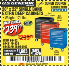 "Harbor Freight Coupon 26"" X 22"" SINGLE BANK EXTRA DEEP CABINETS Lot No. 64434/64433/64432/64431/64163/64162/56234/56233/56235/56104/56105/56106 Expired: 1/31/20 - $239.99"