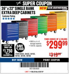 "Harbor Freight Coupon 26"" X 22"" SINGLE BANK EXTRA DEEP CABINETS Lot No. 64434/64433/64432/64431/64163/64162/56234/56233/56235/56104/56105/56106 Expired: 9/29/19 - $299.99"