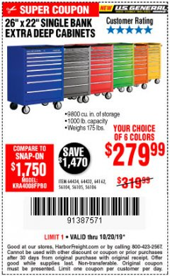 "Harbor Freight Coupon 26"" X 22"" SINGLE BANK EXTRA DEEP CABINETS Lot No. 64434/64433/64432/64431/64163/64162/56234/56233/56235/56104/56105/56106 Expired: 10/20/19 - $279.99"