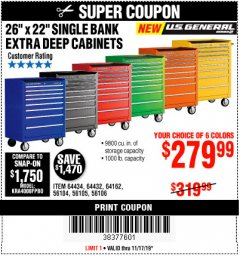 "Harbor Freight Coupon 26"" X 22"" SINGLE BANK EXTRA DEEP CABINETS Lot No. 64434/64433/64432/64431/64163/64162/56234/56233/56235/56104/56105/56106 Expired: 11/17/19 - $279.99"