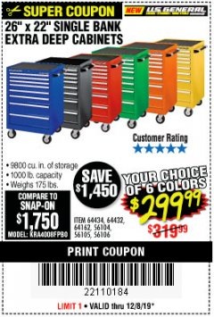 "Harbor Freight Coupon 26"" X 22"" SINGLE BANK EXTRA DEEP CABINETS Lot No. 64434/64433/64432/64431/64163/64162/56234/56233/56235/56104/56105/56106 Expired: 12/8/19 - $299.99"