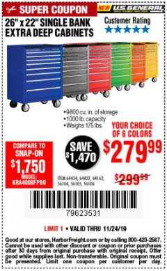 "Harbor Freight Coupon 26"" X 22"" SINGLE BANK EXTRA DEEP CABINETS Lot No. 64434/64433/64432/64431/64163/64162/56234/56233/56235/56104/56105/56106 Expired: 11/24/19 - $279.99"