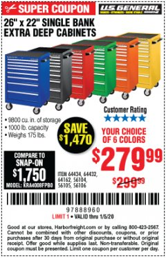 "Harbor Freight Coupon 26"" X 22"" SINGLE BANK EXTRA DEEP CABINETS Lot No. 64434/64433/64432/64431/64163/64162/56234/56233/56235/56104/56105/56106 Expired: 1/5/20 - $279.99"