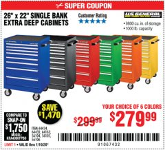 "Harbor Freight Coupon 26"" X 22"" SINGLE BANK EXTRA DEEP CABINETS Lot No. 64434/64433/64432/64431/64163/64162/56234/56233/56235/56104/56105/56106 Expired: 1/19/20 - $279.99"