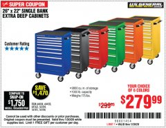 "Harbor Freight Coupon 26"" X 22"" SINGLE BANK EXTRA DEEP CABINETS Lot No. 64434/64433/64432/64431/64163/64162/56234/56233/56235/56104/56105/56106 Expired: 1/20/20 - $279.99"