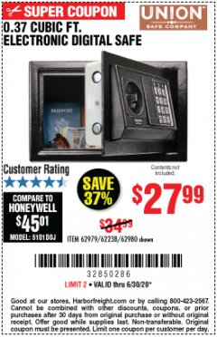 Harbor Freight Coupon 0.37 CU.FT. ELECTRONIC SAFE Lot No. 62979/93575/62980 EXPIRES: 6/30/20 - $27.99