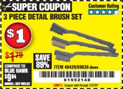 Harbor Freight Coupon 3 PIECE DETAIL BRUSH SET Lot No. 69638 Expired: 1/22/20 - $1