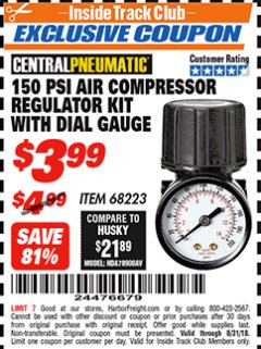 Harbor Freight ITC Coupon 150 PSI AIR COMPRESSOR REGULATOR KIT WITH DIAL GAUGE Lot No. 68223 Expired: 8/31/18 - $3.99