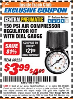 Harbor Freight ITC Coupon 150 PSI AIR COMPRESSOR REGULATOR KIT WITH DIAL GAUGE Lot No. 68223 Expired: 12/31/18 - $3.99