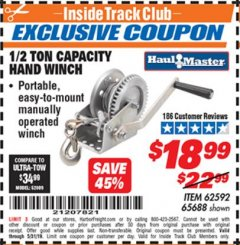 Harbor Freight ITC Coupon 1/2 TON CAPACITY HAND WINCH Lot No. 62592/65688 Dates Valid: 5/3/19 - 5/31/19 - $18.99