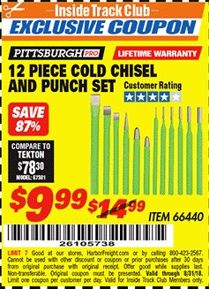 Harbor Freight ITC Coupon 12 PIECE COLD CHISEL AND PUNCH SET Lot No. 66440 Expired: 8/31/18 - $9.99