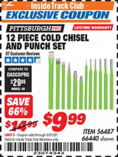 Harbor Freight ITC Coupon 12 PIECE COLD CHISEL AND PUNCH SET Lot No. 66440 Expired: 3/31/20 - $9.99