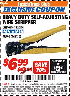 Harbor Freight ITC Coupon HEAVY DUTY SELF-ADJUSTING WIRE STRIPPER Lot No. 36810 Expired: 8/31/18 - $6.99