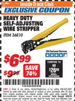 Harbor Freight ITC Coupon HEAVY DUTY SELF-ADJUSTING WIRE STRIPPER Lot No. 36810 Expired: 4/30/19 - $6.99