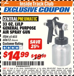 Harbor Freight ITC Coupon 33 OZ. LVLP GENERAL PURPOSE AIR SPRAY GUN Lot No. 60612, 61455 Expired: 8/31/18 - $14.99