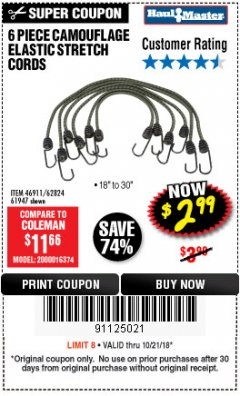 Harbor Freight Coupon 6 PIECE CAMOUFLAGE ELASTIC STRETCH CORDS Lot No. 46911/61947 Expired: 10/21/18 - $2.99