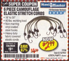 Harbor Freight Coupon 6 PIECE CAMOUFLAGE ELASTIC STRETCH CORDS Lot No. 46911/61947 Expired: 10/31/19 - $2.99