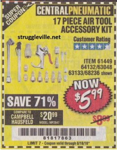 Harbor Freight Coupon 17 PC AIR TOOL ACCESSORY KIT Lot No. 63048 Expired: 8/18/18 - $5.99