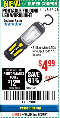 Harbor Freight Coupon BRAUN PORTABLE FOLDING LED WORK LIGHT Lot No. 63930 Expired: 9/2/18 - $4.99