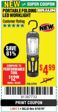 Harbor Freight Coupon BRAUN PORTABLE FOLDING LED WORK LIGHT Lot No. 63930 Expired: 9/16/18 - $4.99