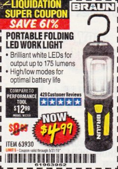 Harbor Freight Coupon BRAUN PORTABLE FOLDING LED WORK LIGHT Lot No. 63930 EXPIRES: 5/31/19 - $4.99