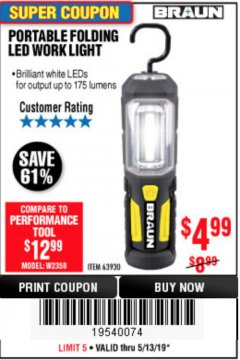 Harbor Freight Coupon BRAUN PORTABLE FOLDING LED WORK LIGHT Lot No. 63930 Expired: 5/13/19 - $4.99