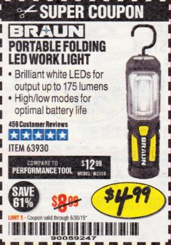 Harbor Freight Coupon BRAUN PORTABLE FOLDING LED WORK LIGHT Lot No. 63930 Expired: 6/17/19 - $4.99