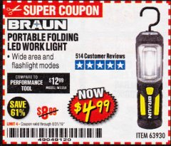 Harbor Freight Coupon BRAUN PORTABLE FOLDING LED WORK LIGHT Lot No. 63930 Valid Thru: 8/31/19 - $4.99