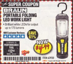 Harbor Freight Coupon BRAUN PORTABLE FOLDING LED WORK LIGHT Lot No. 63930 Expired: 10/31/19 - $4.99