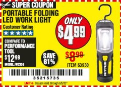 Harbor Freight Coupon BRAUN PORTABLE FOLDING LED WORK LIGHT Lot No. 63930 Expired: 6/30/20 - $4.99