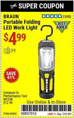 Harbor Freight Coupon BRAUN PORTABLE FOLDING LED WORK LIGHT Lot No. 63930 Expired: 7/31/20 - $4.99