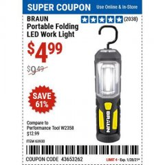Harbor Freight Coupon BRAUN PORTABLE FOLDING LED WORK LIGHT Lot No. 63930 Expired: 1/28/21 - $4.99